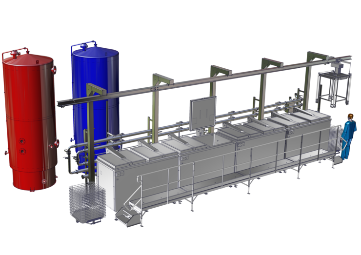 CAO - Thermix - 1000L with semi-manual hoist & cage